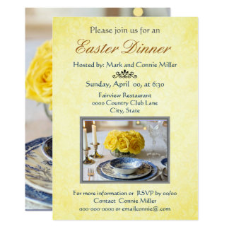 Elegant Yellow with Roses Easter Invitation