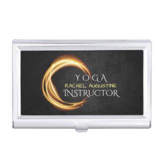 Elegant YOGA Black & Gold ZEN Symbol Glowing Light Business Card Holder