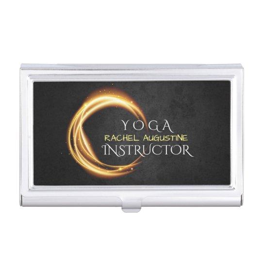 Elegant YOGA Black & Gold ZEN Symbol Glowing Light Case For Business Cards