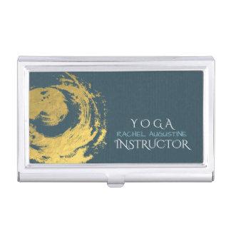 Elegant YOGA Blue & Gold ZEN Symbol Brushstrokes Business Card Holder