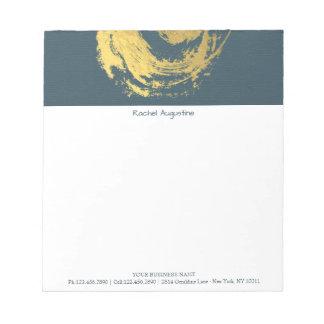 Elegant YOGA Blue & Gold ZEN Symbol Brushstrokes Notepad