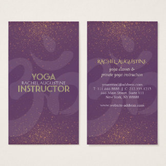 Elegant Yoga Instructor Om Symbol  Purple and Gold Business Card