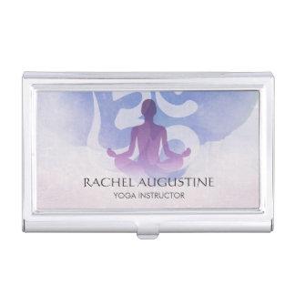 Elegant Yoga Meditation Pose Om Symbol Watercolor Business Card Holder