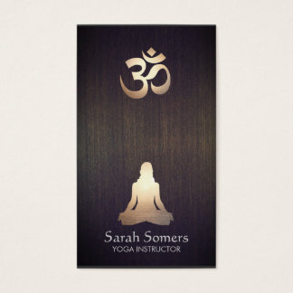 Elegant Yoga Meditation Pose Om Symbol Wood Look Business Card