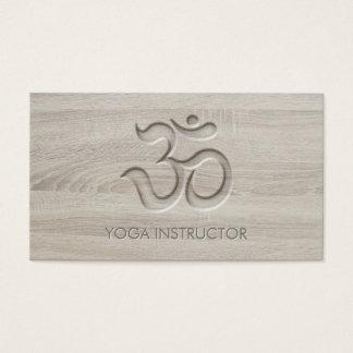 Elegant Yoga Om Symbol Carving Words in Wood Business Card
