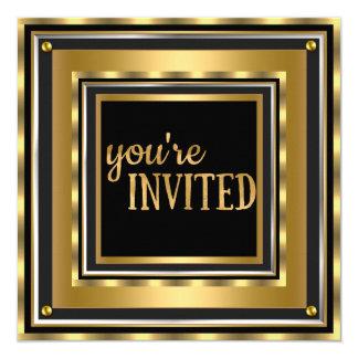 "Elegant You're Invited Gold Faux foil Birthday 5.25"" Square Invitation Card"