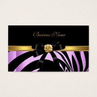 Elegant Zebra Black Lilac Gold Jewel Bow Business Card