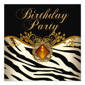 Elegant Zebra Caramel Amber Black Gold Birthday Card
