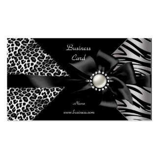 Elegant Zebra Leopard Black Diamond look Pack Of Standard Business Cards