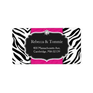 Elegant Zebra Print Hot Pink Wedding Baby Shower Label