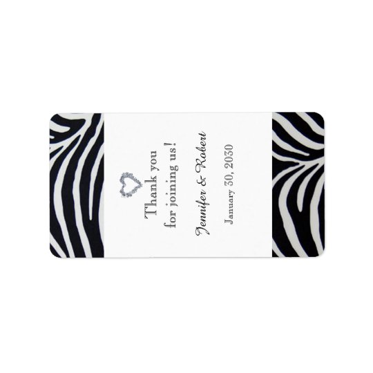 Elegant Zebra Stripe Wedding Lip Balm Label