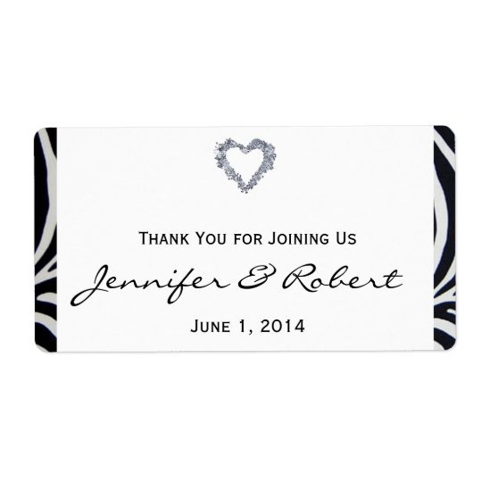 Elegant Zebra Stripe Wedding Water Bottle Label Shipping Label