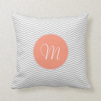 Elegant zigzag of chevrón and monograma throw pillow