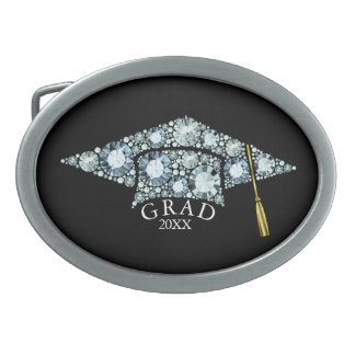 ElegantGrad Hat  Sparkling Diamonds Text Template Oval Belt Buckle