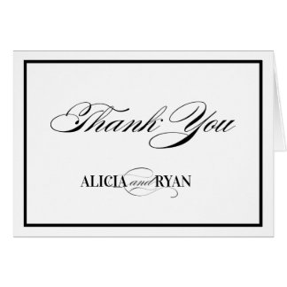Elegantly Classic Type - Black | Thank You Card