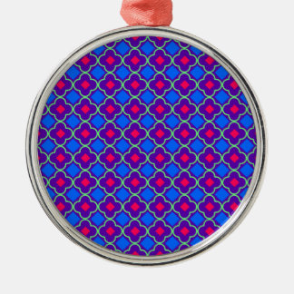 Elegantly Designed Seamless Cross Pattern Silver-Colored Round Ornament