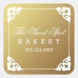 Elegantly Framed Faux Gold Foil Business Stickers