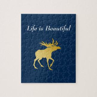 Elegantly Luxurious Gold Antler Deer Jigsaw Puzzle