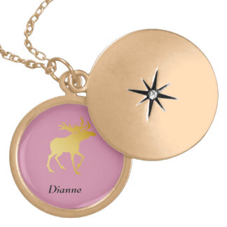 Elegantly Luxurious Gold Antler Deer Locket Necklace