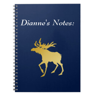 Elegantly Luxurious Gold Antler Deer Spiral Note Book