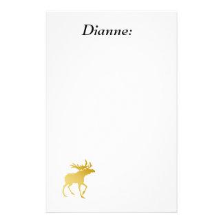Elegantly Luxurious Gold Antler Deer Stationery