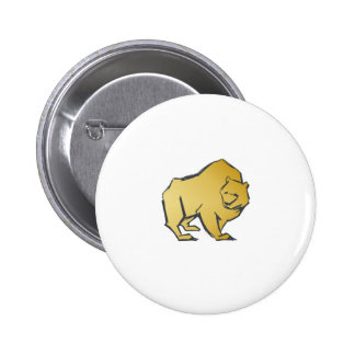 Elegantly Luxurious Gold Bear 2 Inch Round Button
