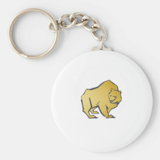Elegantly Luxurious Gold Bear Basic Round Button Keychain