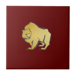 Elegantly Luxurious Gold Bear Ceramic Tiles
