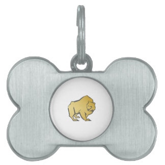 Elegantly Luxurious Gold Bear Pet Name Tag