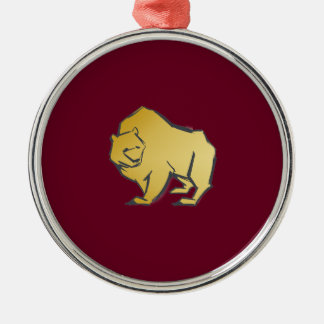Elegantly Luxurious Gold Bear Silver-Colored Round Ornament