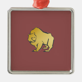 Elegantly Luxurious Gold Bear Silver-Colored Square Ornament