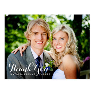 Elegantly Scripted Wedding Thank You Postcard