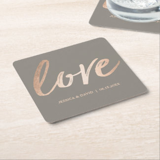 Elegantt Script Faux Foil Rose Gold Love Square Paper Coaster