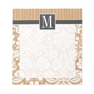 Elegatn Brown, Tan Damask Notepad