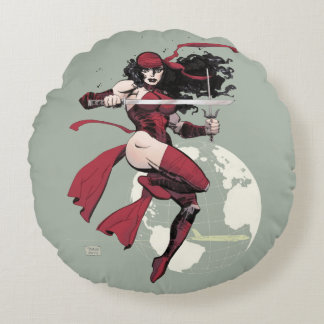 Elektra Traveling The World Round Pillow