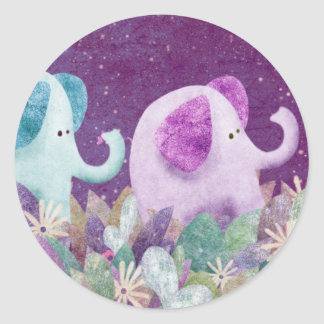 Elelphants holding tails - stickers