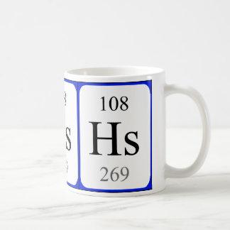 Element 108 white mug - Hassium