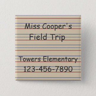Elementary School Paper Personalized 2 Inch Square Button