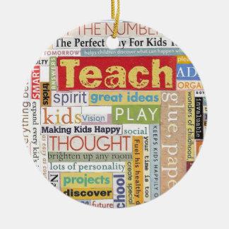 Elementary School Teacher Round Ceramic Ornament