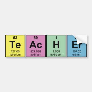 Éléments chimiques de professeur de Sciences Autocollant De Voiture