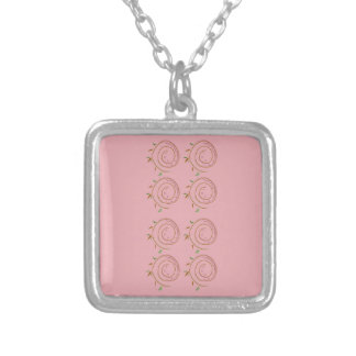 Elements design pink silver plated necklace