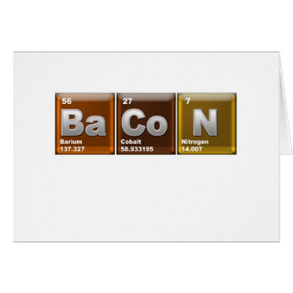"Elements spelling ""BACON"" Card"