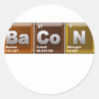 "Elements spelling ""BACON"" Round Sticker"