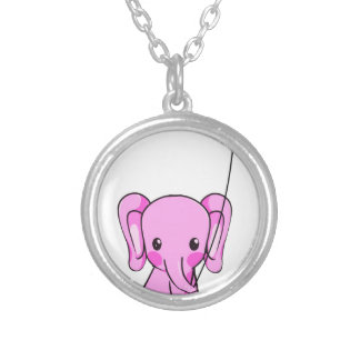 elephant3 silver plated necklace