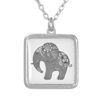 Elephant 4 silver plated necklace