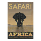 Elephant Africa Safari vintage travel poster