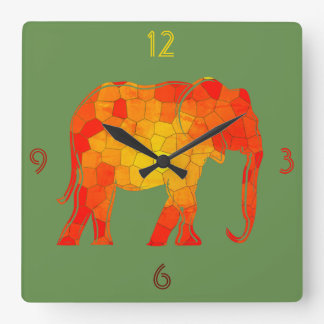 Elephant African Silhouette Mosaic Artistic Orange Square Wall Clock