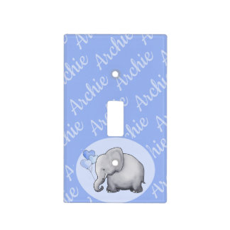 Elephant All-Over Custom Name Boy's Nursery Room Light Switch Cover