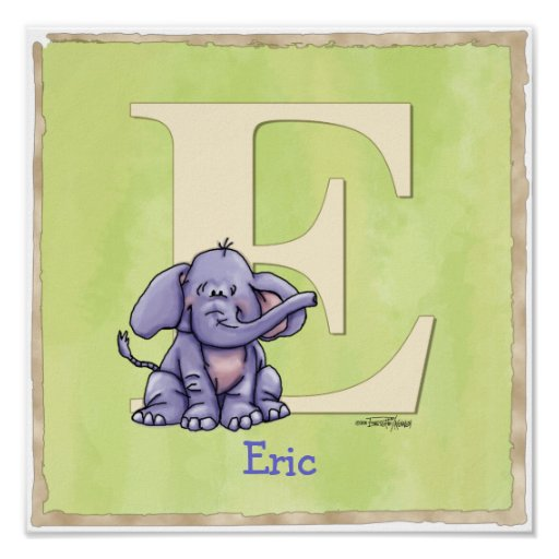 Elephant alphabet print