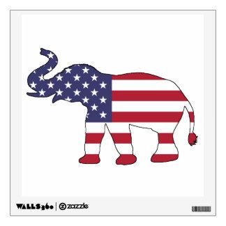 "Elephant ""American Flag"" Wall Decal"